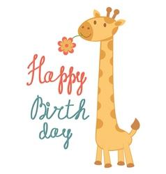Birthday card giraffe vector image