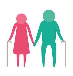 color silhouette pictogram elderly couple with vector image