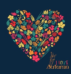 I love autumn design with heart vector image vector image