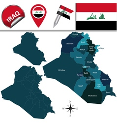 Iraq map with named divisions vector