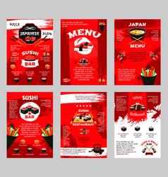 japanese restaurant and sushi bar menu poster vector image vector image