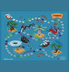 pirate board game for children map of treasure vector image vector image