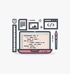 web design laptop vector image vector image