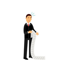 stressed businessman character looking at long vector image
