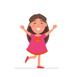 young girl in red dress with big bow poses flat vector image