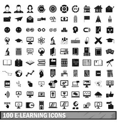 100 e-learning icons set in simple style vector