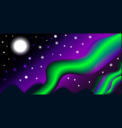 abstract lanscape with northern lights over vector image