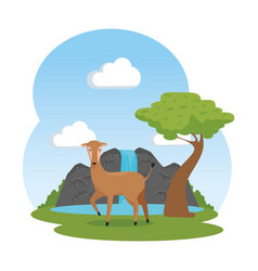 African antelope in the savannah with waterfall vector