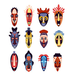 african mask traditional ritual or ceremonial vector image