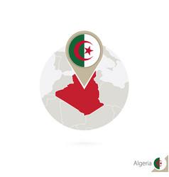 Algeria map and flag in circle map algeria vector