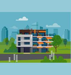 Apartment building scene vector