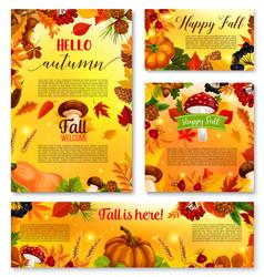 autumn hello fall seasonal banner poster vector image