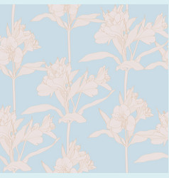 Beautiful seamless with line alstroemeria lilies vector