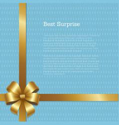 best surprise certificate design gold bow corner vector image vector image