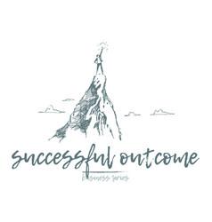 Business achieve success top mountain sun vector