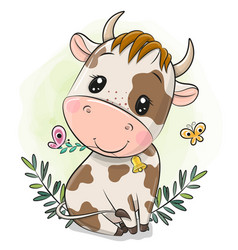cartoon little bull on a green background vector image