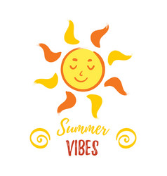 Cheerful smiling sun with with summer vibes vector