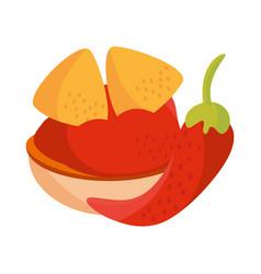 cinco de mayo nachos with spicy sauce in bowl vector image