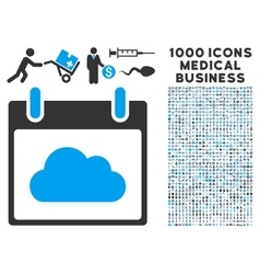 Cloud calendar day icon with 1000 medical business vector