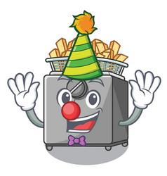 Clown deep fryer machine isolated on mascot vector