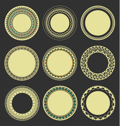 collection of round decorative border frames with vector image