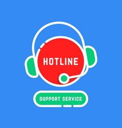 Color linear hotline support service sticker vector