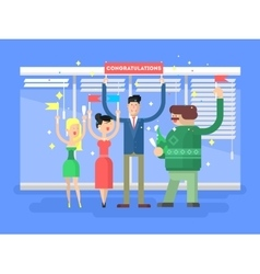 Congratulations group people vector image