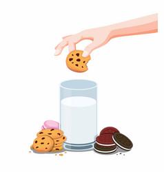 cookies biscuit and fresh milk hand dip chips vector image