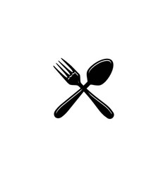 crossed fork and spoon restaurant logo designs vector image