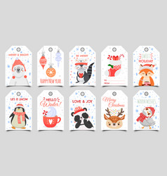 cute animals christmas tags holiday gift tag with vector image