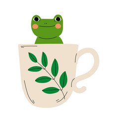 Cute frog in teacup adorable little amphibian vector