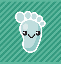 Cute kawaii smiling baby foot cartoon icon vector