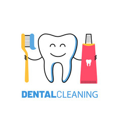 dental healthcare icon with smiling tooth vector image