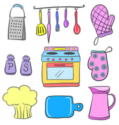Doodle of kitchen equipment colorful vector