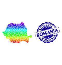Dot rainbow map of romania and grunge stamp seal vector