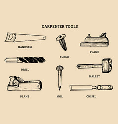Drawing of carpentry tools of vector