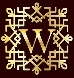 ethnic monogram frame gold vintage boutique vector image
