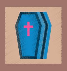 Flat shading style icon halloween coffin vector