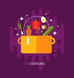 Flat Style with Kitchen Appliances and Food Soup vector image