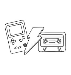 game boy cassette and lighting black and white vector image
