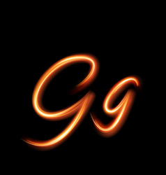 Glowing light letter g hand lighting painting vector