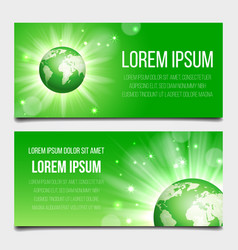 green globe planet banners set vector image