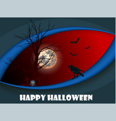 greeting card for halloween with a black crow on a vector image