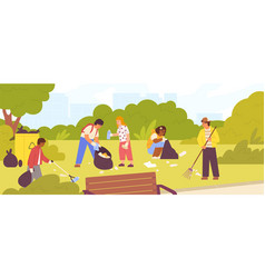 Group diverse children cleaning up city park vector