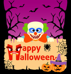 Halloween background card with clown vector