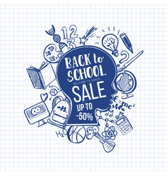 hand-drawn back to school sale on head vector image