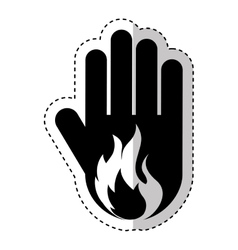Hand human with fire flame silhouette icon vector