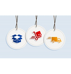 Hanging shipping badges vector image