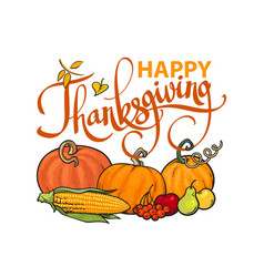 happy thanksgiving calligraphy and cartoon vector image
