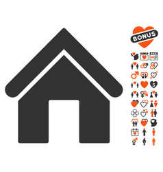 Home icon with love bonus vector